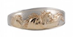 Domed sterling bracelet with applied 14K yellow gold classic horses